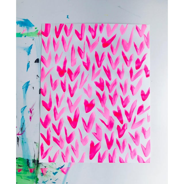 2010s Contemporary Pink and White Pattern Painting For Sale - Image 5 of 5