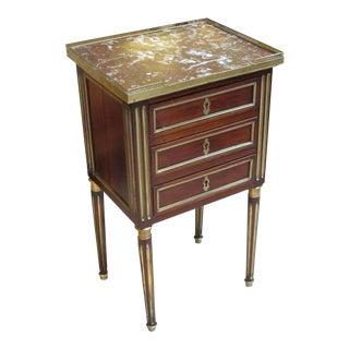 Good Quality French Louis XVI Mahogany Commode W/Marble Top & Gilt-Bronze Mounts For Sale