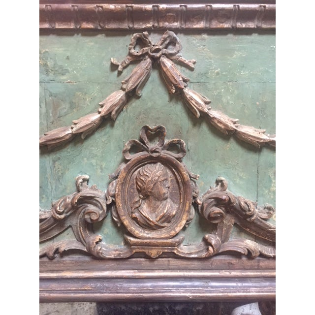 Fine 18th Century Painted & Carved Italian Mirror with Cartouche. Includes Green and Gold colors.