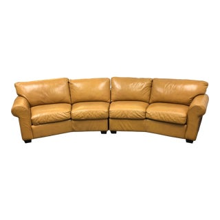 Polo Four Seater Navajo Palomino Leather 2 Pc. Curved Sofa For Sale