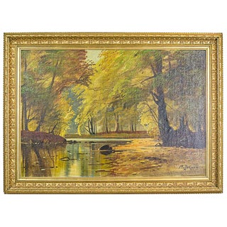 Autumnal Landscape, an Oil Painting Signed by A. Johansen For Sale