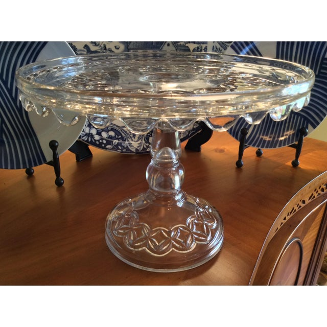 Glass Vintage Early American Pressed Pedestal Glass Cake Stand For Sale - Image 7 of 8