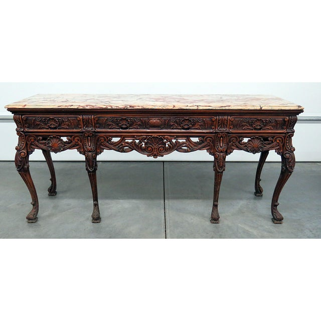 Brown Georgian Style Marble Top Sideboard For Sale - Image 8 of 8