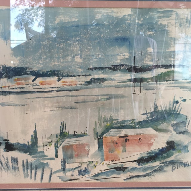 Mid Century Modern Alfred Birdsey Abstract Modernist Ocean Seascape Watercolor Painting Signed - Image 7 of 11