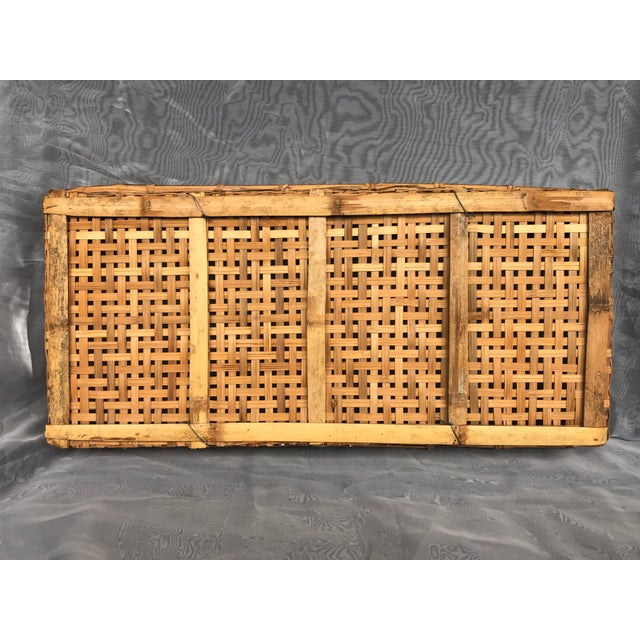 Late 20th Century Large Woven Bamboo Tray Basket For Sale - Image 4 of 13