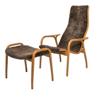Yngve Ekström Lamino Chair and Ottoman With Sheepskin Upholstery For Sale