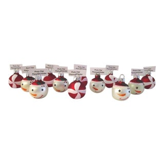 Glass Christmas Ball Place Card Holders, S/12 For Sale