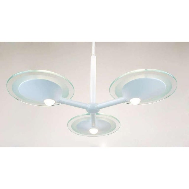 Postmodern Glass & White Triple Pendant Chandelier For Sale - Image 4 of 8