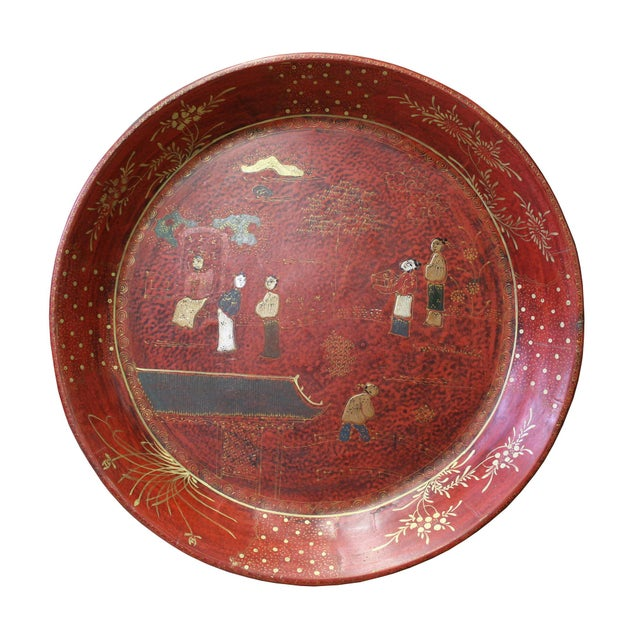 Asian Chinese Red Lacquer Golden Scenery Round Tray Display Art For Sale - Image 3 of 7
