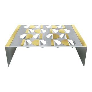 Modern Stainless Steel Brass and Glass Coffee Table For Sale