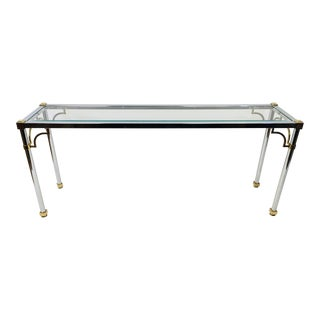 Mid Century Vintage Chrome and Brass Hollywood Regency Console Table For Sale