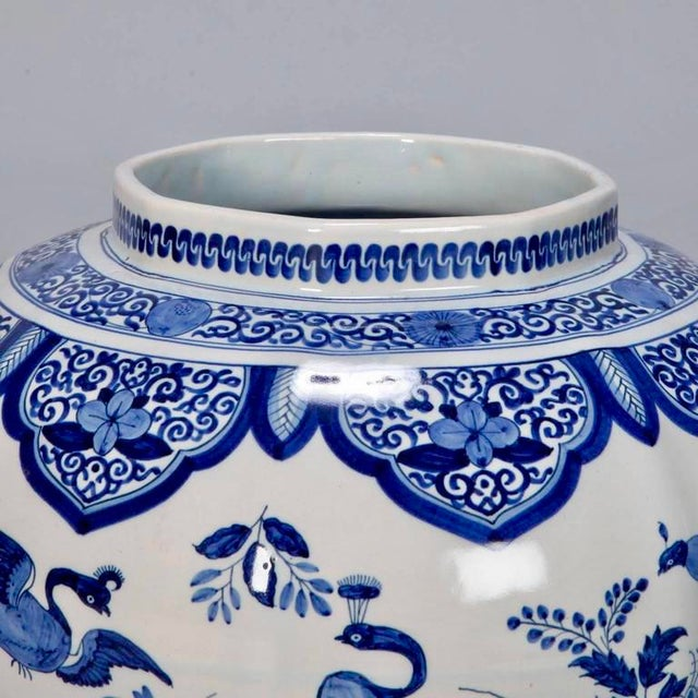 Ceramic Large Blue and White Chinese Ginger Jar or Dutch Vase with Lid For Sale - Image 7 of 9