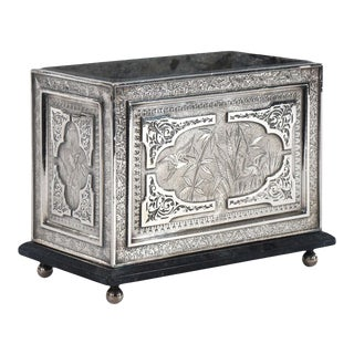 Aesthetic Movement Silver Plate Rectangular Planter with Original Liner For Sale