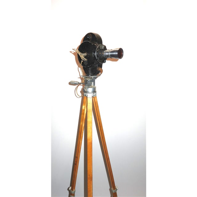 Glass Hollywood Early 20th Century Movie Camera With Head and Wood Tripod Legs For Sale - Image 7 of 7