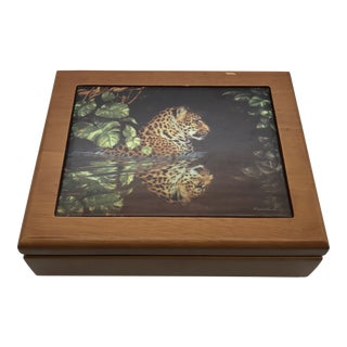 Teak Box With Tiger Tile For Sale
