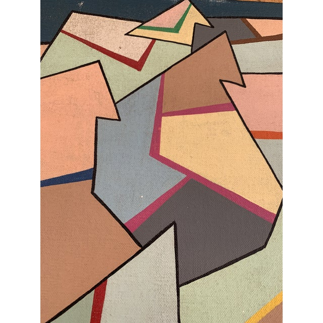 Abstract 1960s Vintage Abstract Geometric Painting by Achi Sullo For Sale - Image 3 of 6