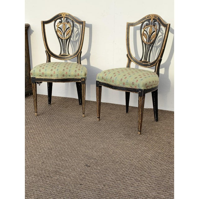 Early 19th C. Neoclassical European Shield Back Side Chairs - a Pair For Sale In San Diego - Image 6 of 11