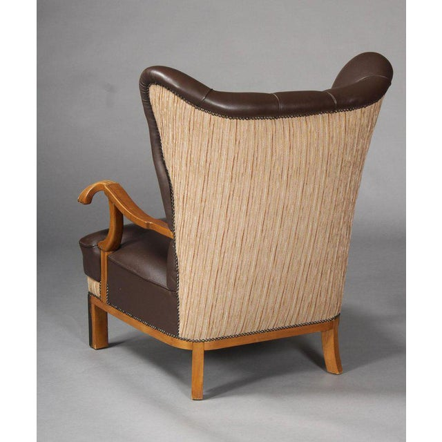 Mid-Century Modern 1940s Vintage Danish Leather Wingback Chairs - A Pair For Sale - Image 3 of 5