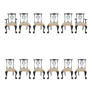 Set of 12 Irish George II Style Elm Chairs, circa 1880