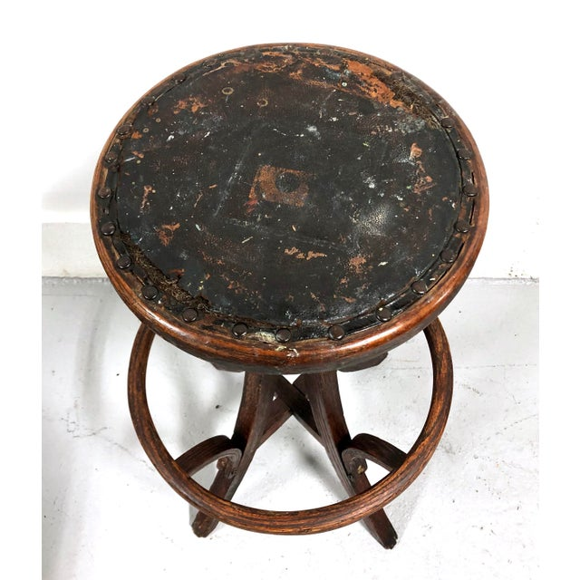 Antique Architectural Industrial Oak Drafting Stool For Sale - Image 9 of 13