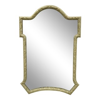 Decorator Carved Wood Distressed Silver Finish Looking Glass/Wall Mirror For Sale