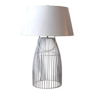 White Cage Table Lamp With White Shade For Sale
