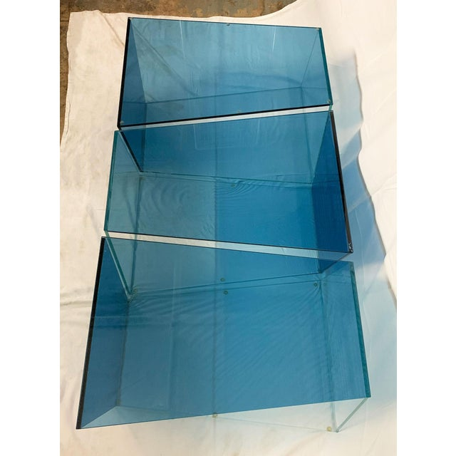 1970s Contemporary Geometric Blue and Clear Glass 3 Piece Coffee Table For Sale - Image 4 of 12