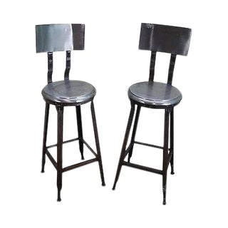 Heavy Industrial Steel Pair of Bar Stools (A) For Sale