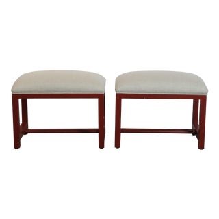 1970s Organic Modern Linen Upholstered Red Benches - a Pair