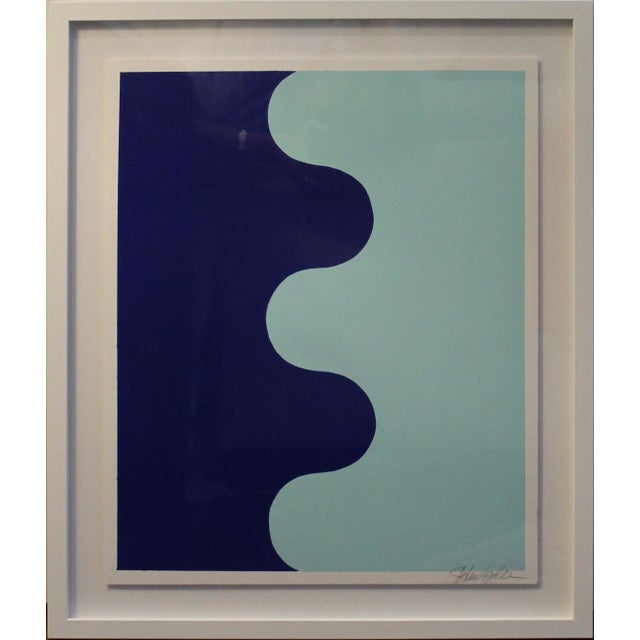 2010s Framed Hairpin Serpentine in Bottle Blue and Aqua by Stephanie Henderson For Sale - Image 5 of 6
