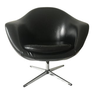 1980s Vintage Single Black Overman Swivel Pod Chair For Sale
