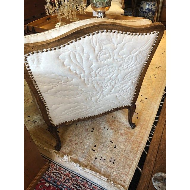 Carved Walnut French Style Club Chair With Quilted Upholstery For Sale - Image 9 of 13