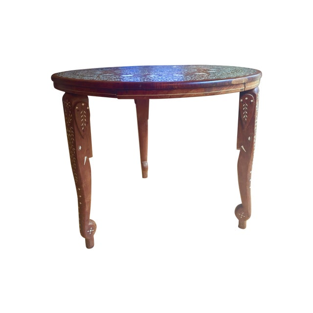 Eclectic Vintage Bone Inlay Elephant Accent Table - Image 1 of 6