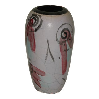 Abstract Lavender Hand-Made Pottery Vase With Red & Black Markings For Sale