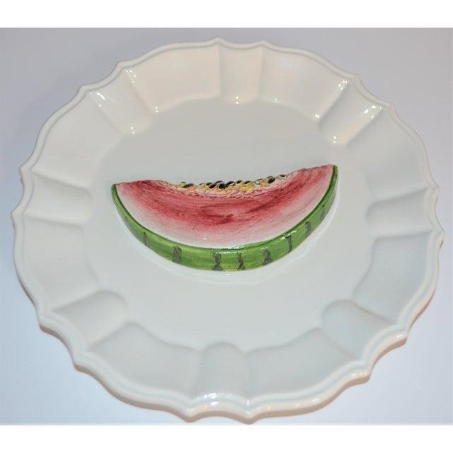 (Final Markdown) 1970's Majolica Italian Trompe l'Oeil Melon Plate For Sale In Houston - Image 6 of 7