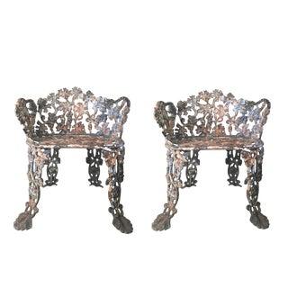 Antique Cast Iron Victorian Garden Chairs - a Pair