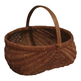 19th Century Country White Oak Wooden Handmade Basket