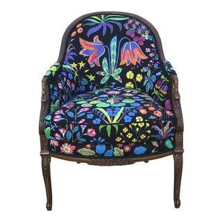 Vintage Colorful Floral Linen Swan Armchair