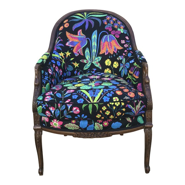 Vintage Colorful Fl Linen Swan Armchair