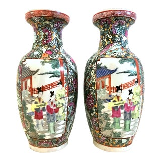 20th Century Hand Painted Porcelain Famille Rose Vases Signed-Qianlong - a Pair For Sale
