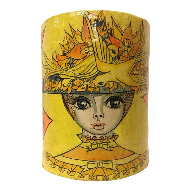 Vintage Mid-Century Paper Mache Can / Vessel For Sale