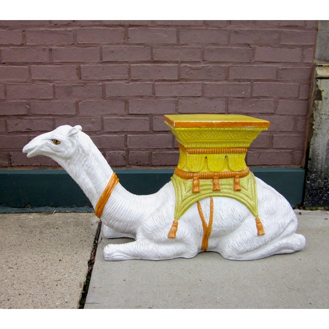 1970s Vintage Italian Majolica Glazed Terra Cotta Ceramic White and Yellow Hand Painted Camel Statue Garden Seat For Sale - Image 11 of 11