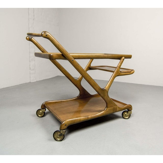 Mid-Century Italian Design Walnut Bar Trolley by Cesare Lacca for Cassina, 1950s For Sale - Image 11 of 11