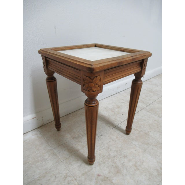 1930s French Carved Marble Top End Table For Sale - Image 12 of 12