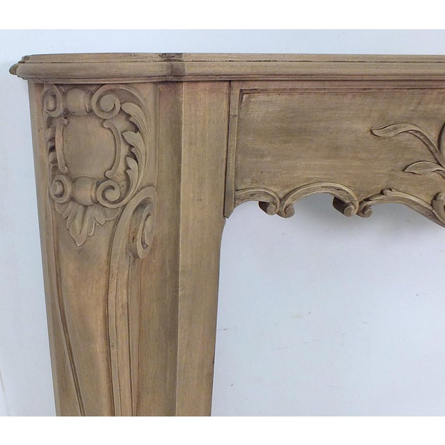 French Louis XVI Style Bleached Wood Fireplace Mantle - Image 4 of 4