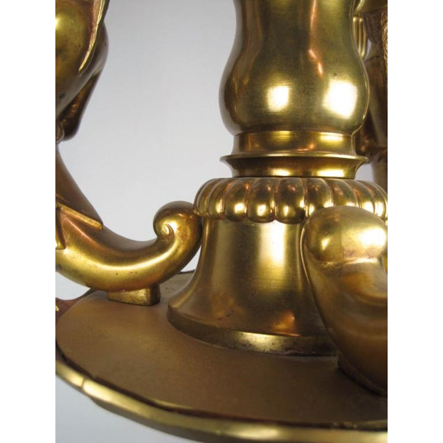 Ca. 1910 Solid brass castings, very sharp and heavy. Beautiful detail and highly unusual figural 6-light chandelier.
