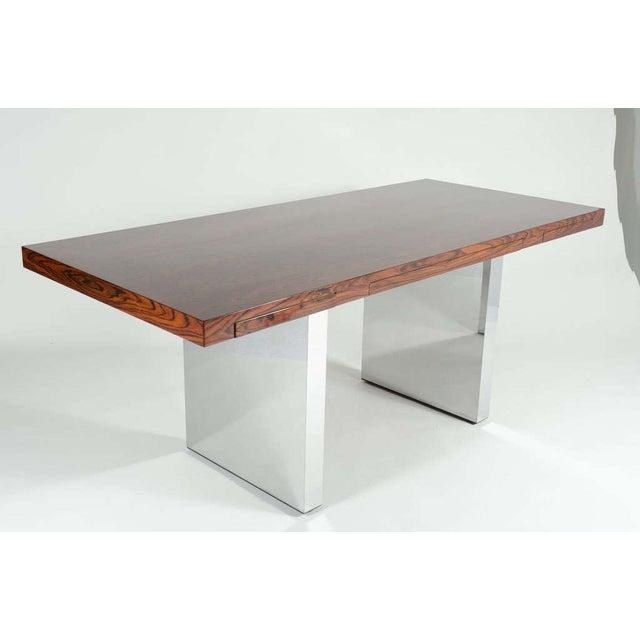 Dunbar Furniture Roger Sprunger for Dunbar Rosewood & Chrome Executive Desk For Sale - Image 4 of 10
