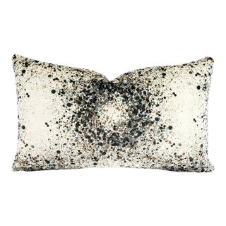 """Highland Court Bellatrix in Charcoal and Brown Lumbar Pillow Cover - 12"""" X 20"""" Gray, Brown and White Splatter Print Velvet Cushion Case For Sale"""