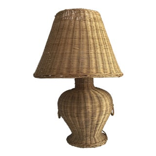 Wicker Ginger Jar Lamp and Shade For Sale