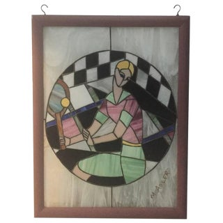 Signed Art Deco Stained Glass of Women Playing Tennis For Sale